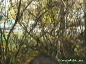 Sexy whore takes big cock sex in public and cumshot load