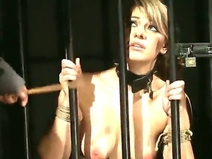 Bonded brunette Norah Swan gets her nipples clamped during a racy...