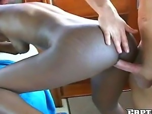 Amateur interracial fuck with Josh and his ebony slut named Simone