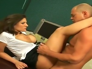 Busty brunette bitch Austin Kincaid gets grabbed and banged hard by a massive...