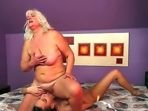 Naughty forty slutty milf bitch lesbo Judi gets her orgasmic cunt licked by a...