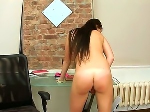 You shouldnt miss a chance of watching masturbation scene from cute brunette...