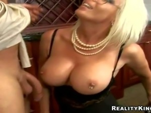 Blonde milf Jordan Jolie with glasses is a lady boss