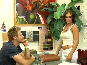 Sexy mature brunette gets her wet pussy  licked in the office by a young milf...