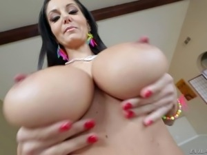 Topless milfyf brunette Ava Addams in panties and shoes is proud of her...