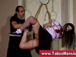 Watch this sexy brunette teen schoolgirl getting bound in hi def