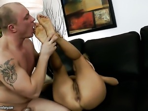Brunette Candy Alexa with juicy boobs and hot dude bang on camera for you to...