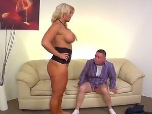Huge boobed blonde slut Alura Jenson is sitting on helpless Jeremy Conways...