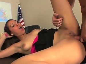 Innocent looking brunette Nadia sucks her teachers cock,get her cunt licked...