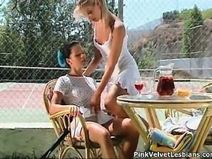 Two sexy tennis playing lesbian babes