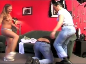 Milf and teen spanking and dominating over poor dude