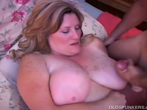 Big and busty cougar enjoys a hard fucking and cum all over her lovely large...