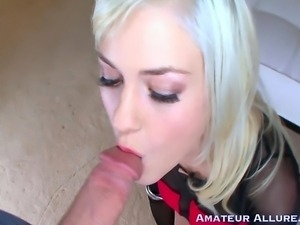 Tight amateur gets face fucked and swallows Kloey goes balls deep on big...