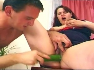 Chubby wife is crazy about fruits insertions and hardcore fuck after that