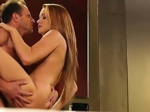 Huge tits brunette gets fuck and pussy creampie