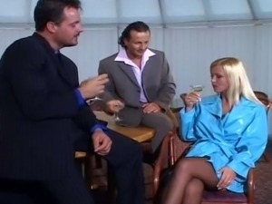 Another stunning blonde has two cocks to keep happy while a beautiful black...