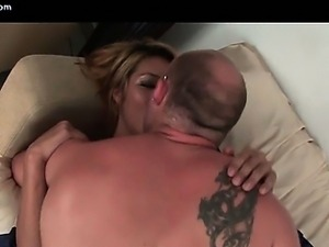 Sensual blonde ladyboy gets sucked