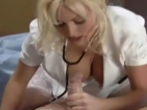 hot nurse in nylons jacksoff a patient for a sperm sample in her mouth