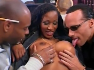 Big busty MILF with huge boobs takes two hard cocks and tries double vaginal,...