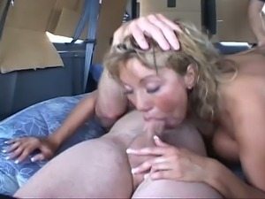 Ava devine has a foursome in a van