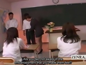 Subtitled CFNM bottomless Japan students school teasing