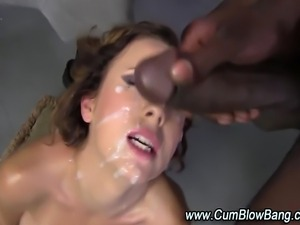 Black cock slut cumshot facials