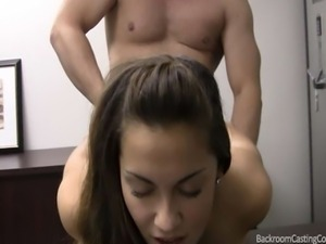 College soccer player Stacy lets herself get talked into anal sex for her...