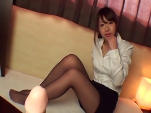 the innocent japanese pornstar wears nylon pantyhose practice her footjob...