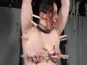 Private dungeon torture to tears of chubby amateur slaveslut Nimue Allen in...