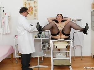 old tight pussy being gaped by the doc