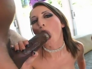 Gorgeous brunette gets hard fucked by a two large black cocks