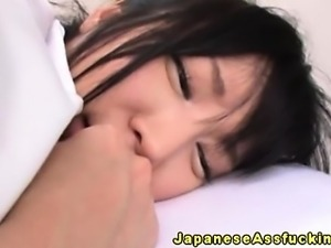 Young japanese teen fingered in asshole