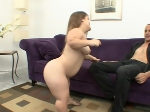 slutty midget sucks a tall dude