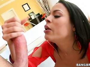 Chicana Luna Star with giant boobs gets her mouth stretched by guys sturdy...