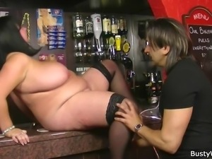 chunky brunette fucked at her workplace