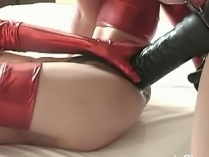 Extreme whore gets fucked with a giant strapon dildo and has a football...