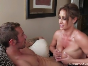 MILF Eva Notty with outstanding huge melons is his dads new girlfriend. She...