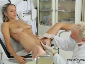 Horny Tracy Gets Her pussy played at the doctors office.