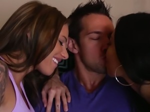 Asa Akira and Juelz Ventura share a very hard cock