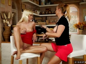 Blonde Katy Parker with juicy knockers is curious about eating Tracy Golds...