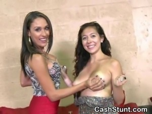 Amateur girls get paid in cash for flashing titties during a money talks...
