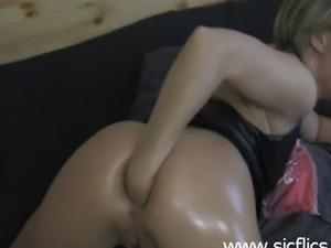 Horny amateur babe fist fucks her asshole till she orgasms