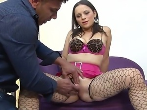 Busty Paloma Vargas in sexy fishnet stockings gets her wild pussy fingered by...