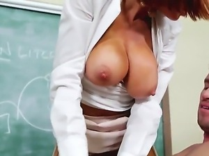 Attractive redhead teacher Vronica Avluv with big juicy tits and round...