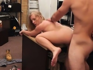MILF exposes her tits while pawning her car and she gets har