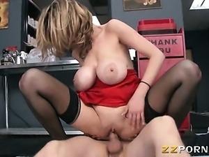 Massive tits MILF Katie Kox hard slammed