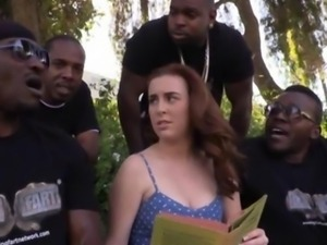 Four black dudes ass fucked Jessie Parker with their big choco dicks