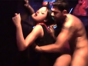 Hunky stud Nacho enjoys watching hot babes licking and kissing before...