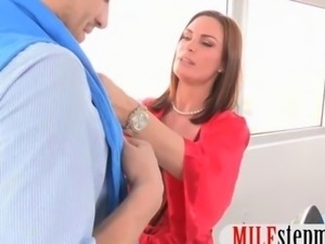 Lucky stud screwed his horny step mom and his hot girlfriend