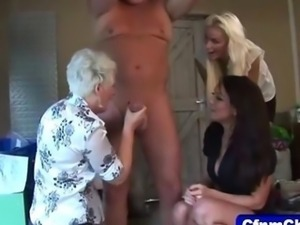 Mature domina milks the loser with babes